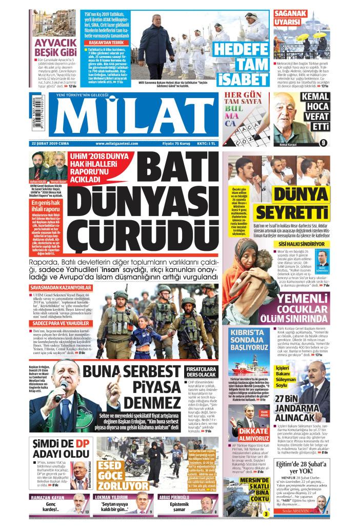 MİLAT Gazetesi 22 Şubat 2019, Cuma Günü Manşeti