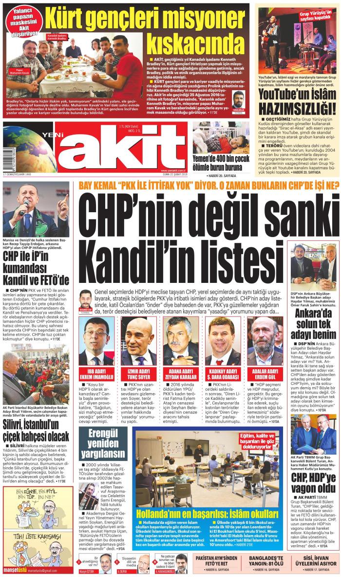 YENİ AKİT Gazetesi 22 Şubat 2019, Cuma Günü Manşeti