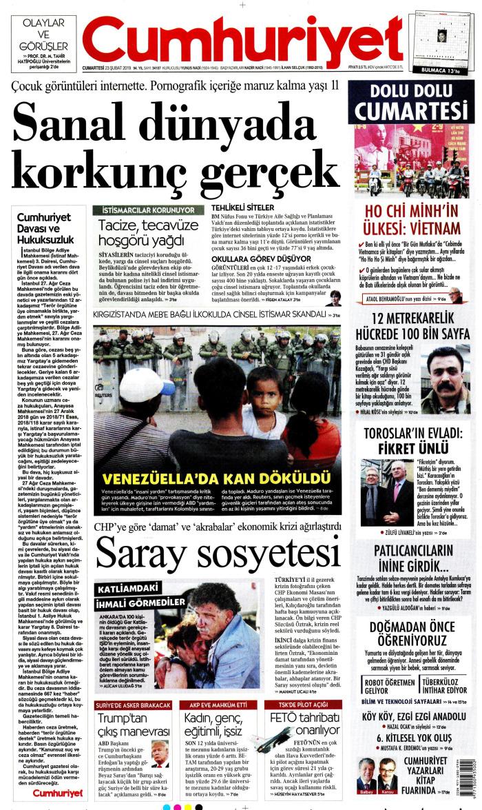 CUMHURİYET Gazetesi 23 Şubat 2019, Cumartesi Günü Manşeti