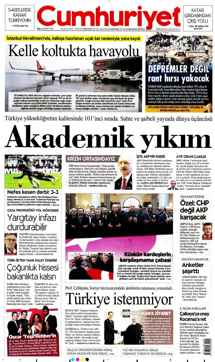 CUMHURİYET Gazetesi 26 Şubat 2019, Salı Günü Manşeti