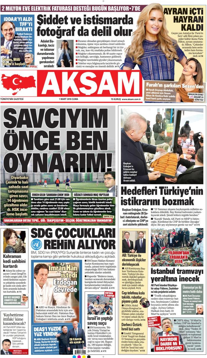AKŞAM Gazetesi 1 Mart 2019, Cuma Günü Manşeti