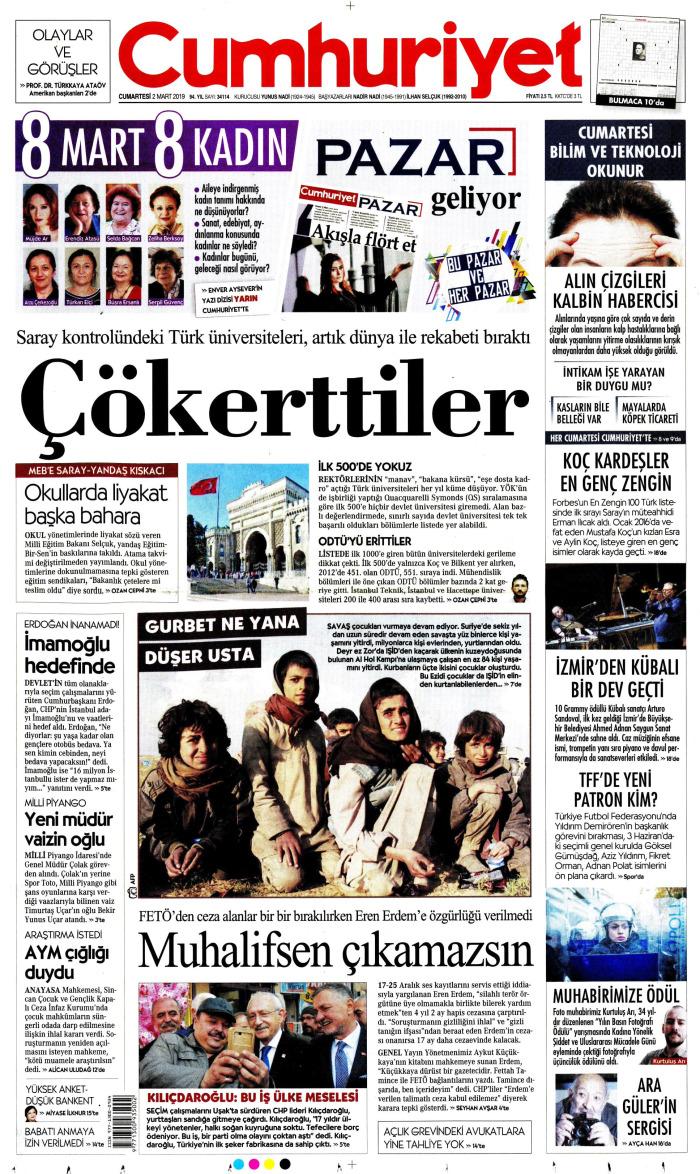 CUMHURİYET Gazetesi 2 Mart 2019, Cumartesi Günü Manşeti