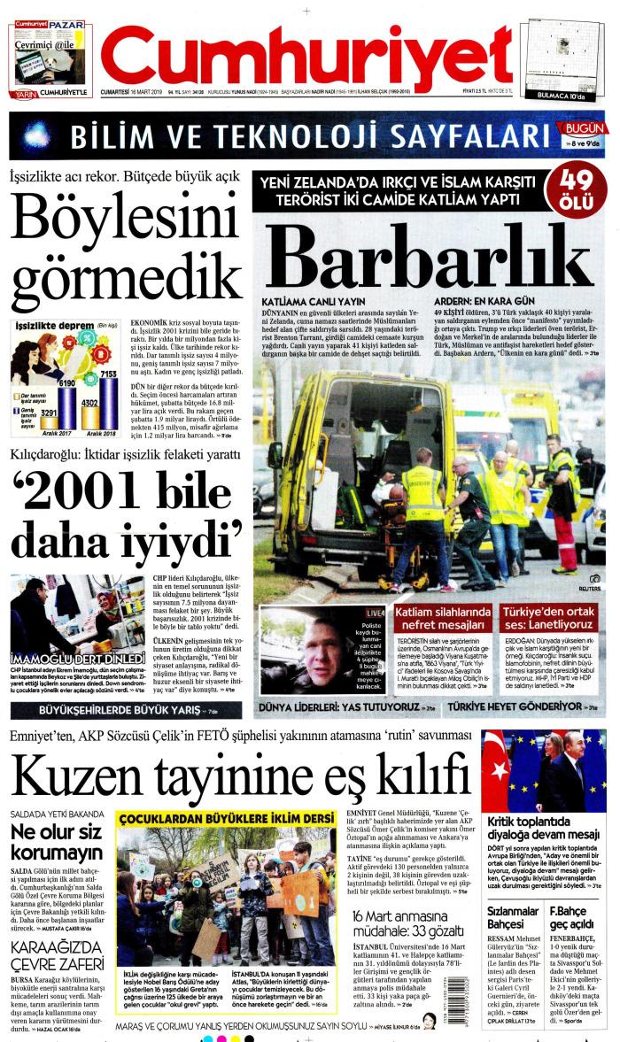 CUMHURİYET Gazetesi 16 Mart 2019, Cumartesi Günü Manşeti