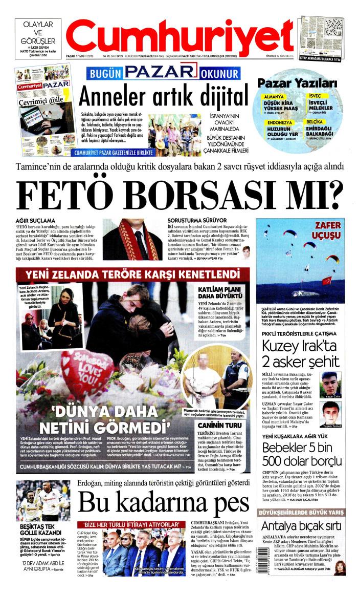 CUMHURİYET Gazetesi 17 Mart 2019, Pazar Günü Manşeti