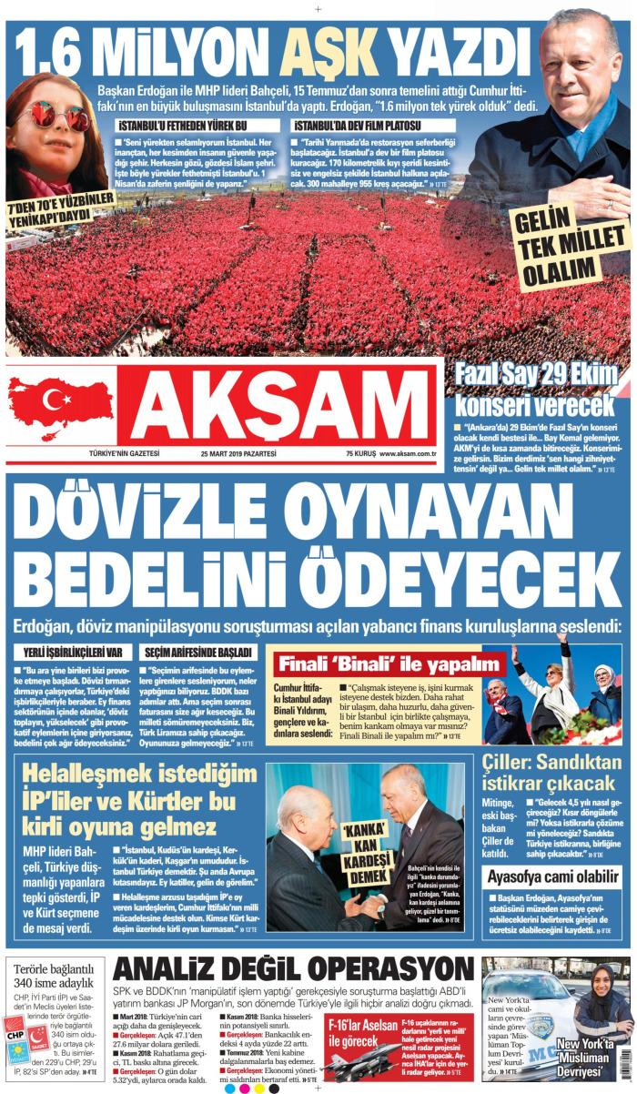 AKŞAM Gazetesi 25 Mart 2019, Pazartesi Günü Manşeti
