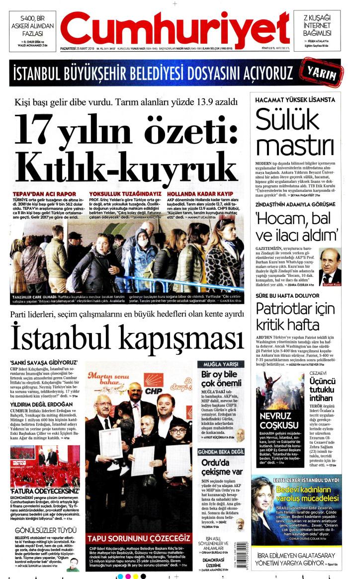 CUMHURİYET Gazetesi 25 Mart 2019, Pazartesi Günü Manşeti