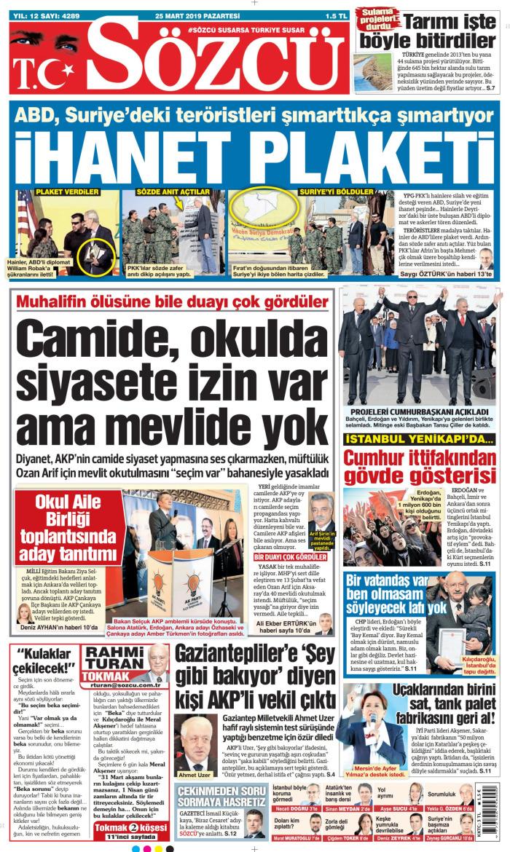 SÖZCÜ Gazetesi 25 Mart 2019, Pazartesi Günü Manşeti