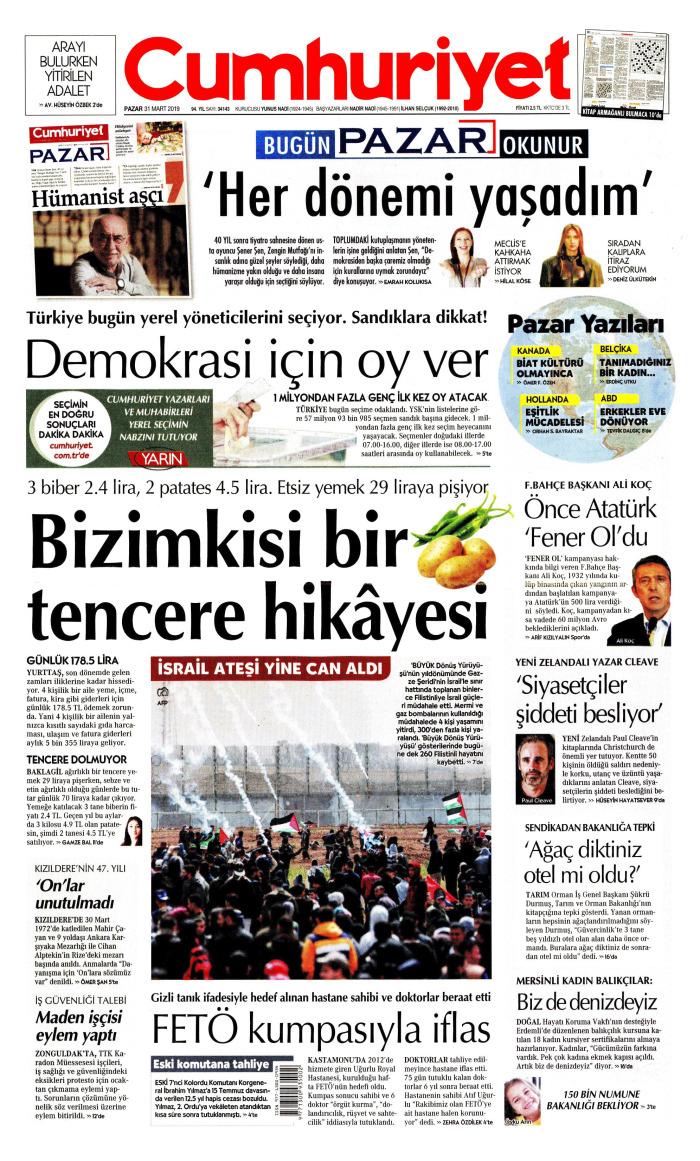 CUMHURİYET Gazetesi 31 Mart 2019, Pazar Günü Manşeti