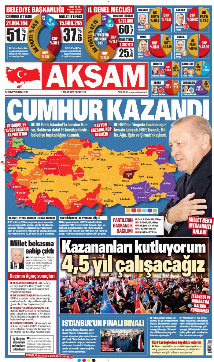 AKŞAM Gazetesi 1 Nisan 2019, Pazartesi Günü Manşeti