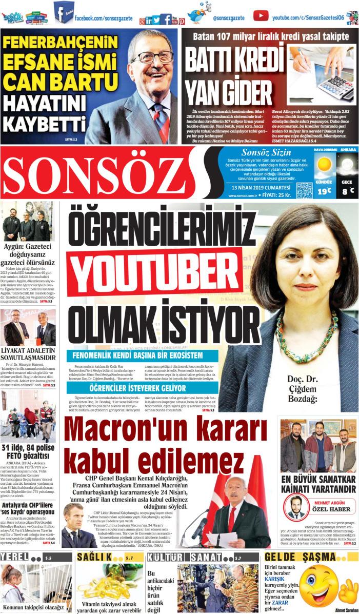 SONSÖZ Gazetesi 13 Nisan 2019, Cumartesi Günü Manşeti