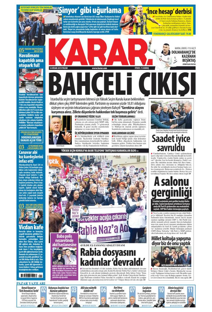 KARAR Gazetesi 14 Nisan 2019, Pazar Günü Manşeti