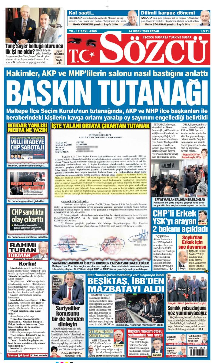 SÖZCÜ Gazetesi 14 Nisan 2019, Pazar Günü Manşeti