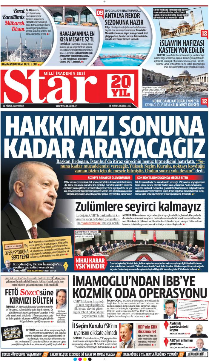 STAR Gazetesi 19 Nisan 2019, Cuma Günü Manşeti
