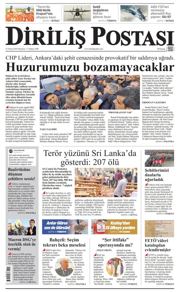 DİRİLİŞ POSTASI Gazetesi 22 Nisan 2019, Pazartesi Günü Manşeti