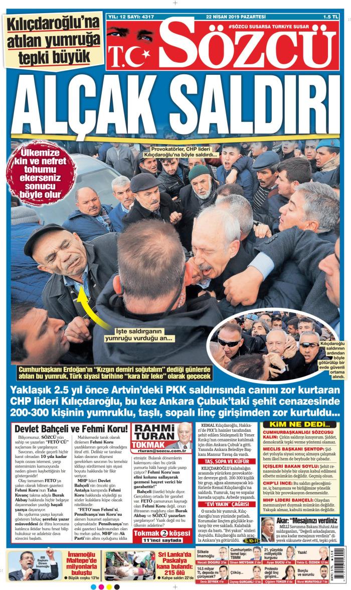 SÖZCÜ Gazetesi 22 Nisan 2019, Pazartesi Günü Manşeti