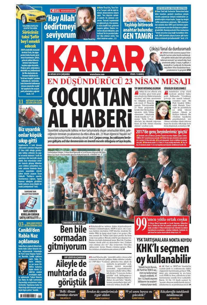 KARAR Gazetesi 24 Nisan 2019, Çarşamba Günü Manşeti