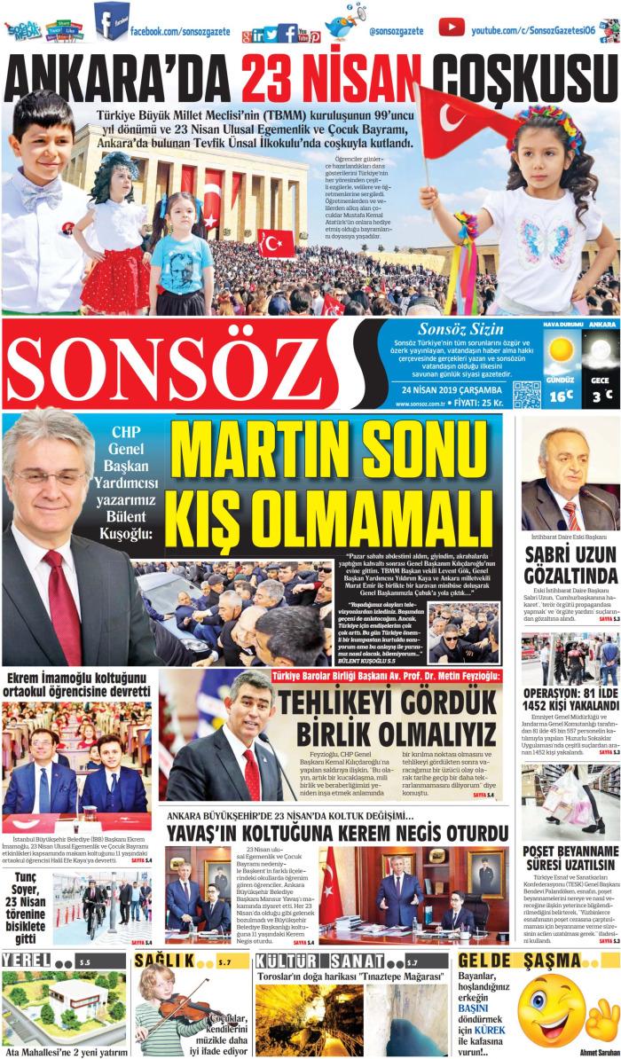 SONSÖZ Gazetesi 24 Nisan 2019, Çarşamba Günü Manşeti
