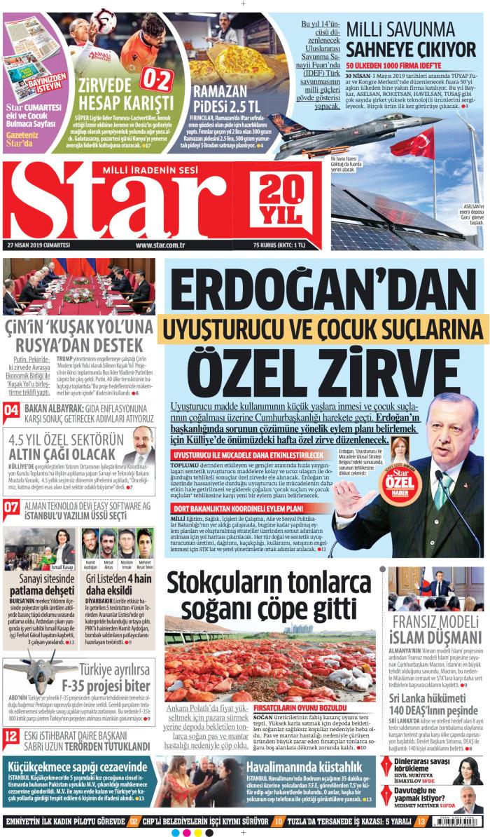 STAR Gazetesi 27 Nisan 2019, Cumartesi Günü Manşeti