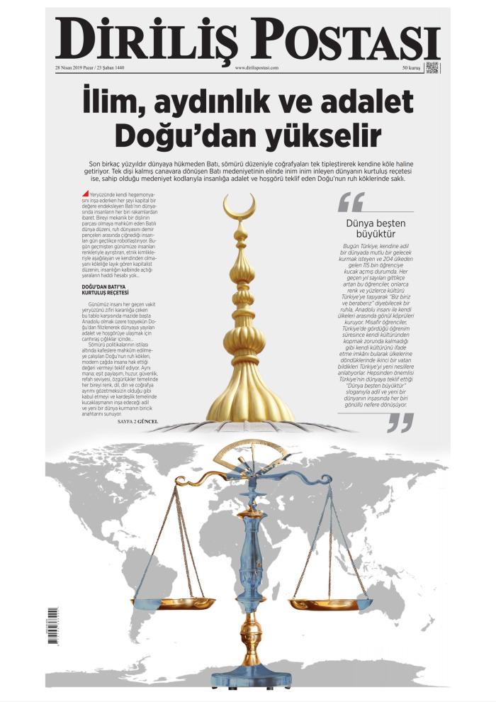 DİRİLİŞ POSTASI Gazetesi 28 Nisan 2019, Pazar Günü Manşeti