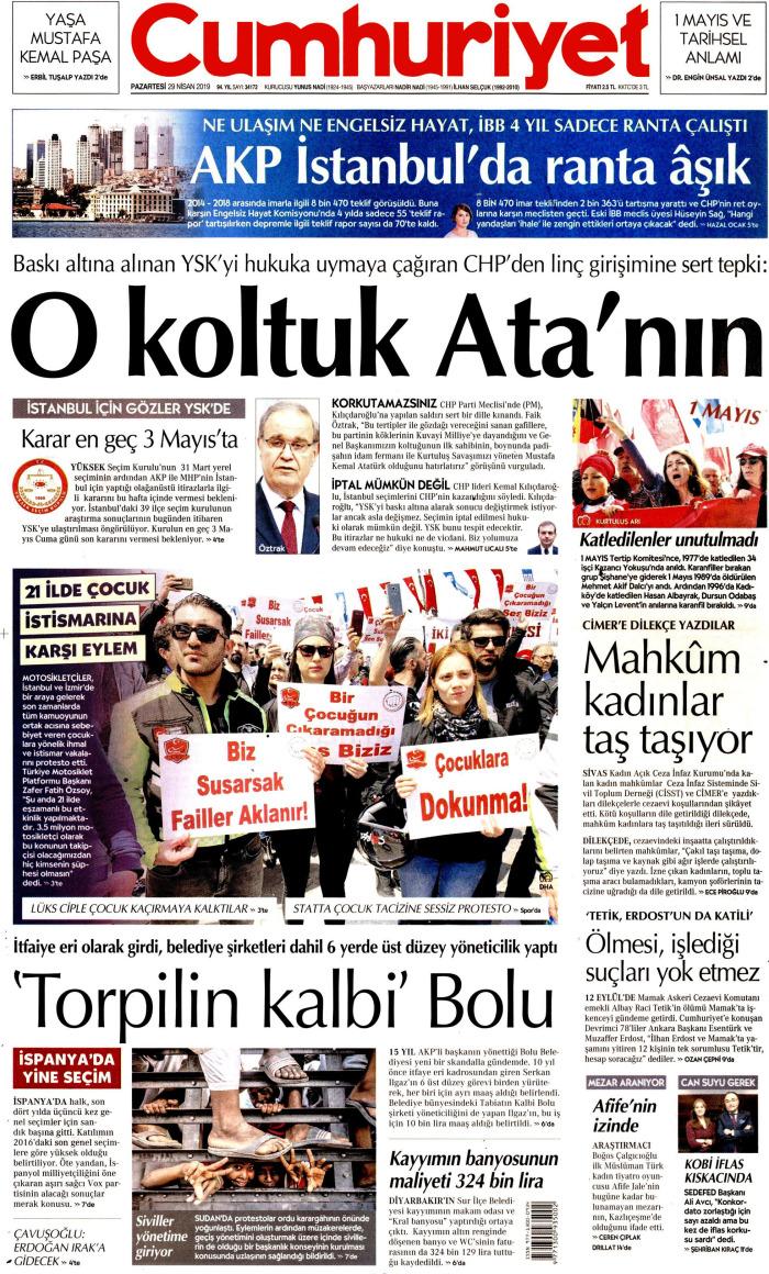 CUMHURİYET Gazetesi 29 Nisan 2019, Pazartesi Günü Manşeti