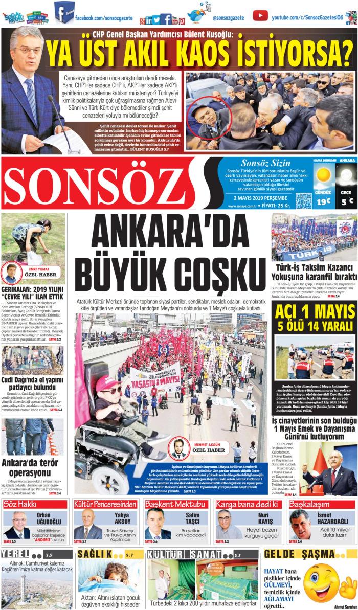 SONSÖZ Gazetesi 2 Mayıs 2019, Perşembe Günü Manşeti