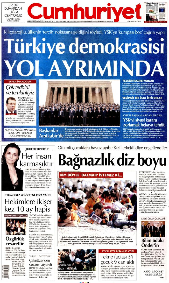 CUMHURİYET Gazetesi 4 Mayıs 2019, Cumartesi Günü Manşeti