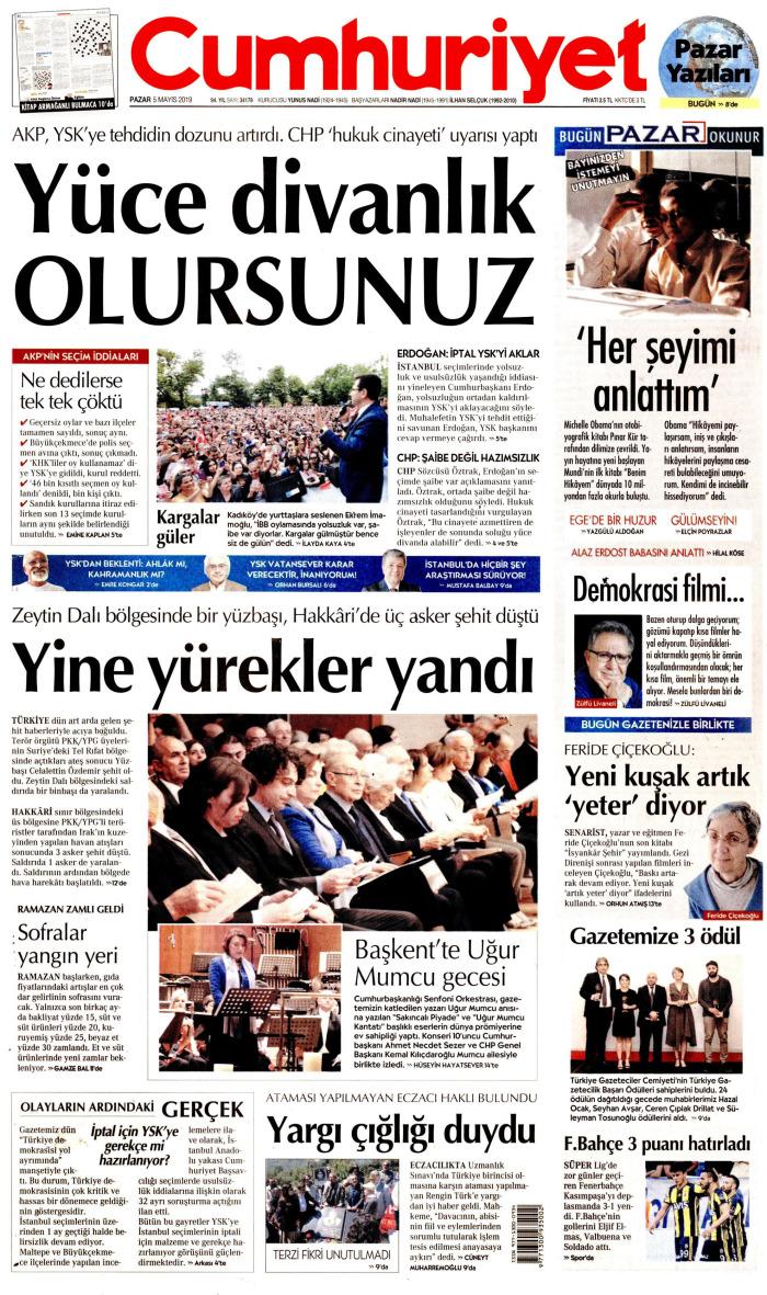 CUMHURİYET Gazetesi 5 Mayıs 2019, Pazar Günü Manşeti