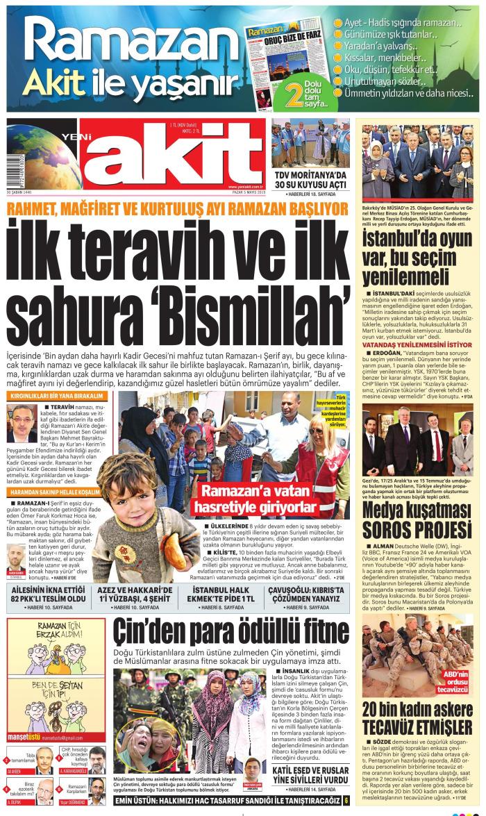 YENİ AKİT Gazetesi 5 Mayıs 2019, Pazar Günü Manşeti