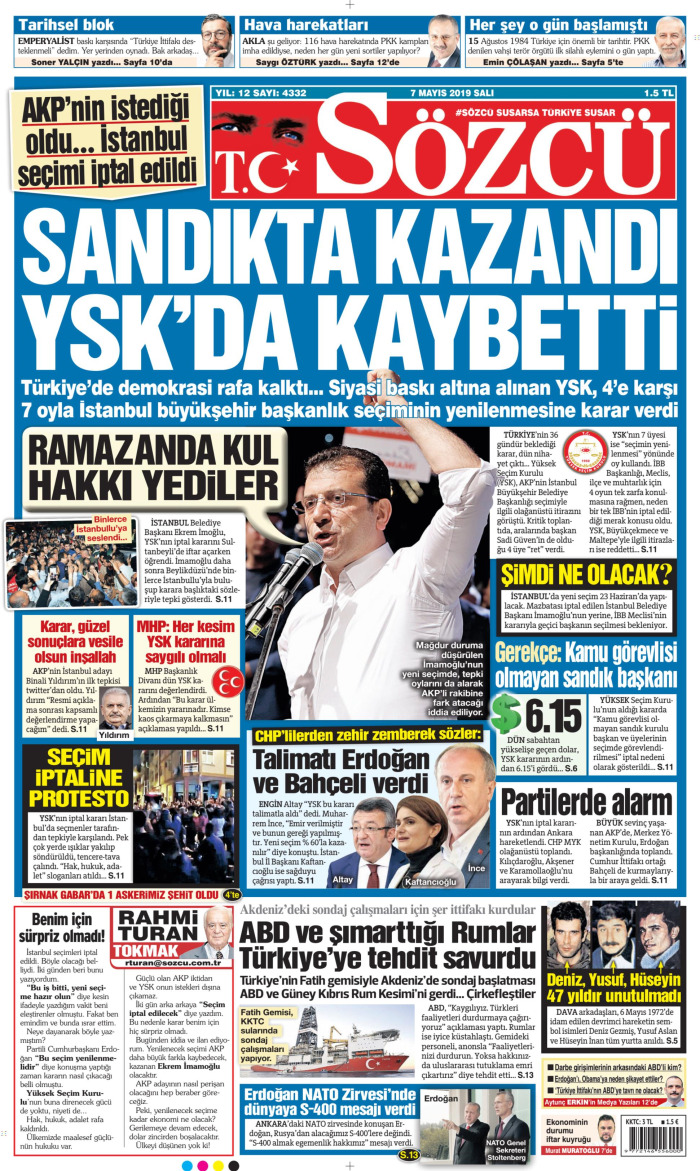SÖZCÜ Gazetesi 7 Mayıs 2019, Salı Günü Manşeti
