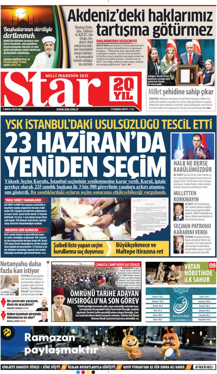 STAR Gazetesi 7 Mayıs 2019, Salı Günü Manşeti