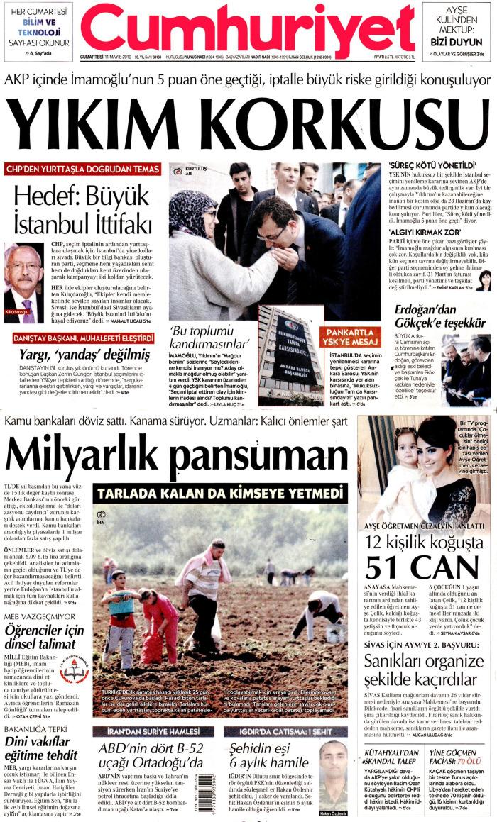 CUMHURİYET Gazetesi 11 Mayıs 2019, Cumartesi Günü Manşeti