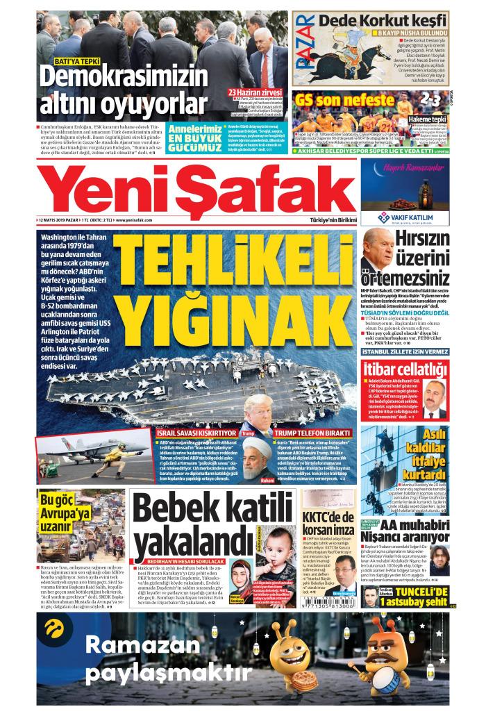 YENİ ŞAFAK Gazetesi 12 Mayıs 2019, Pazar Günü Manşeti