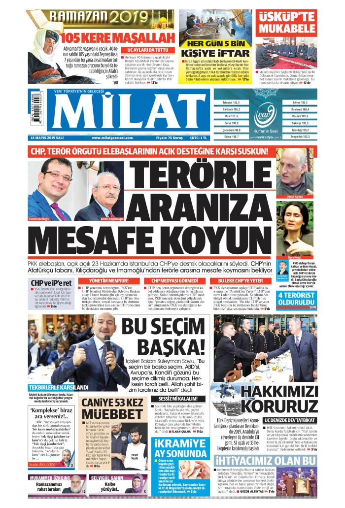 MİLAT Gazetesi 14 Mayıs 2019, Salı Günü Manşeti