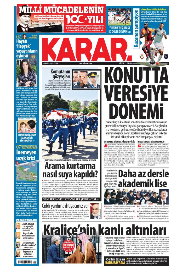 KARAR Gazetesi 19 Mayıs 2019, Pazar Günü Manşeti