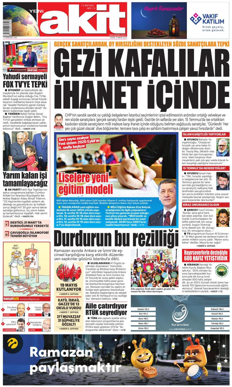 YENİ AKİT Gazetesi 19 Mayıs 2019, Pazar Günü Manşeti
