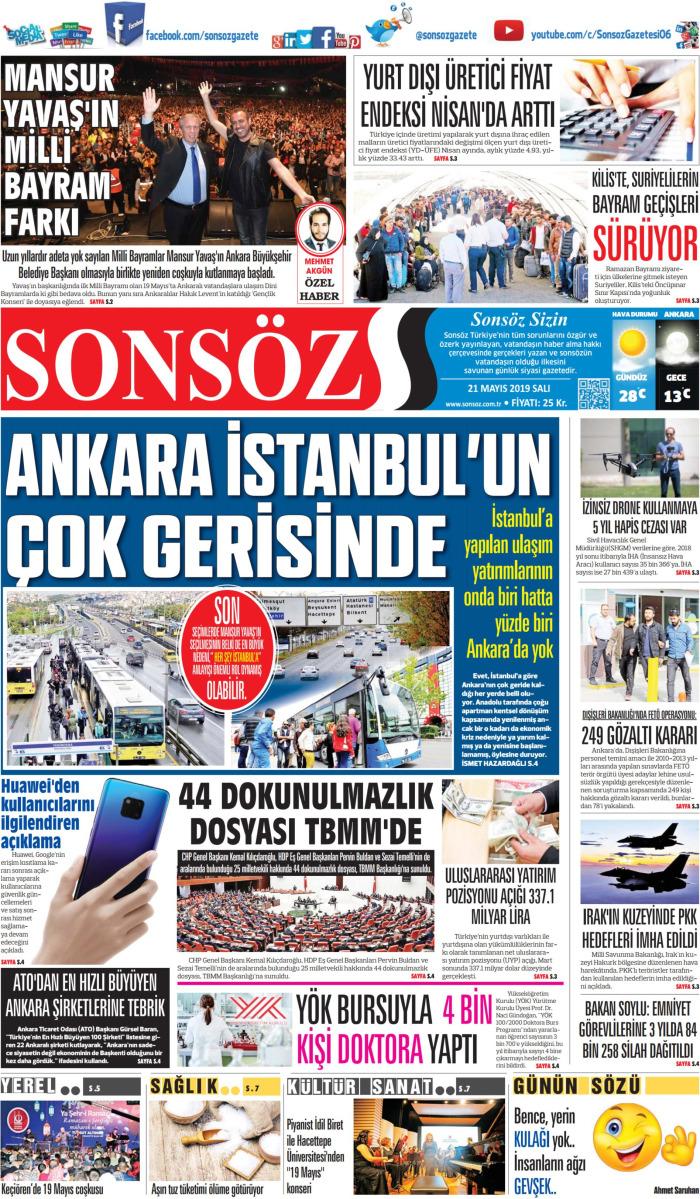SONSÖZ Gazetesi 21 Mayıs 2019, Salı Günü Manşeti