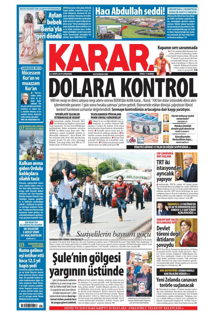 KARAR Gazetesi 22 Mayıs 2019, Çarşamba Günü Manşeti