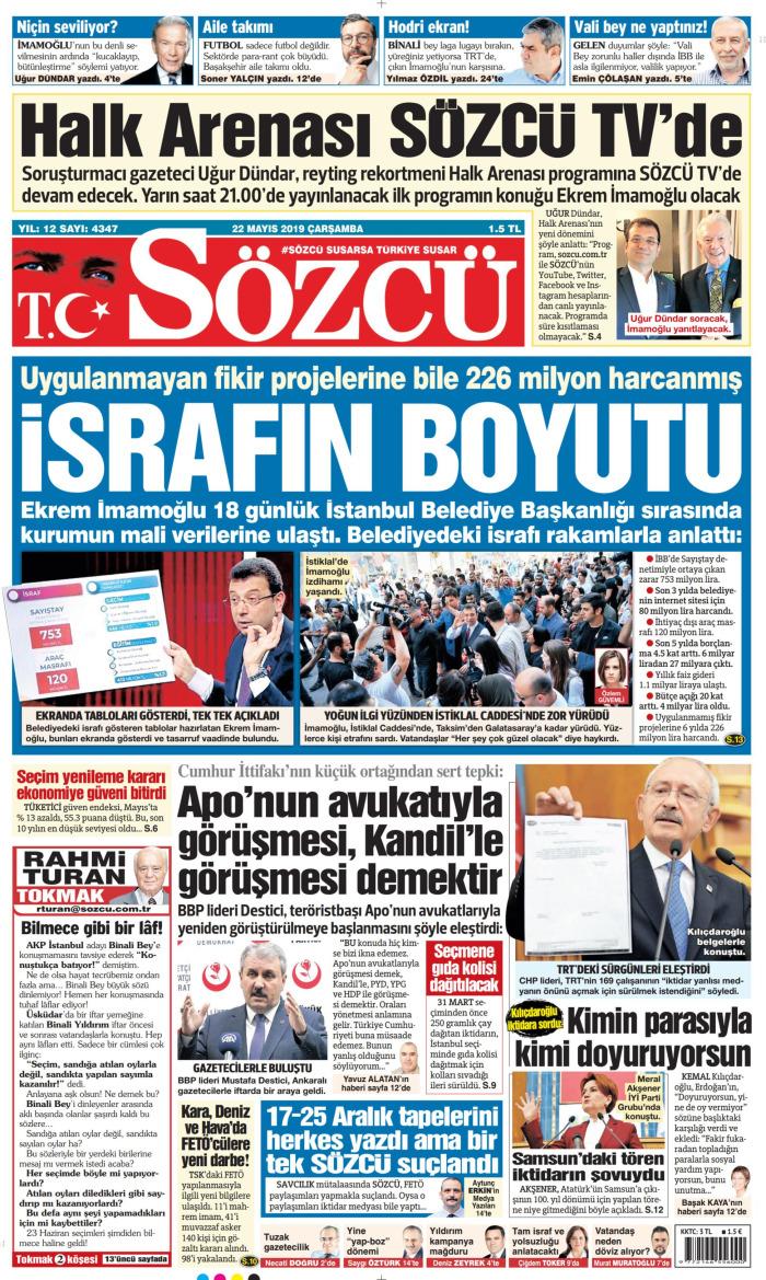 SÖZCÜ Gazetesi 22 Mayıs 2019, Çarşamba Günü Manşeti