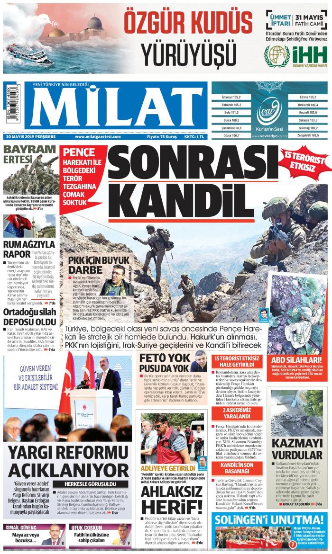 MİLAT Gazetesi 30 Mayıs 2019, Perşembe Günü Manşeti