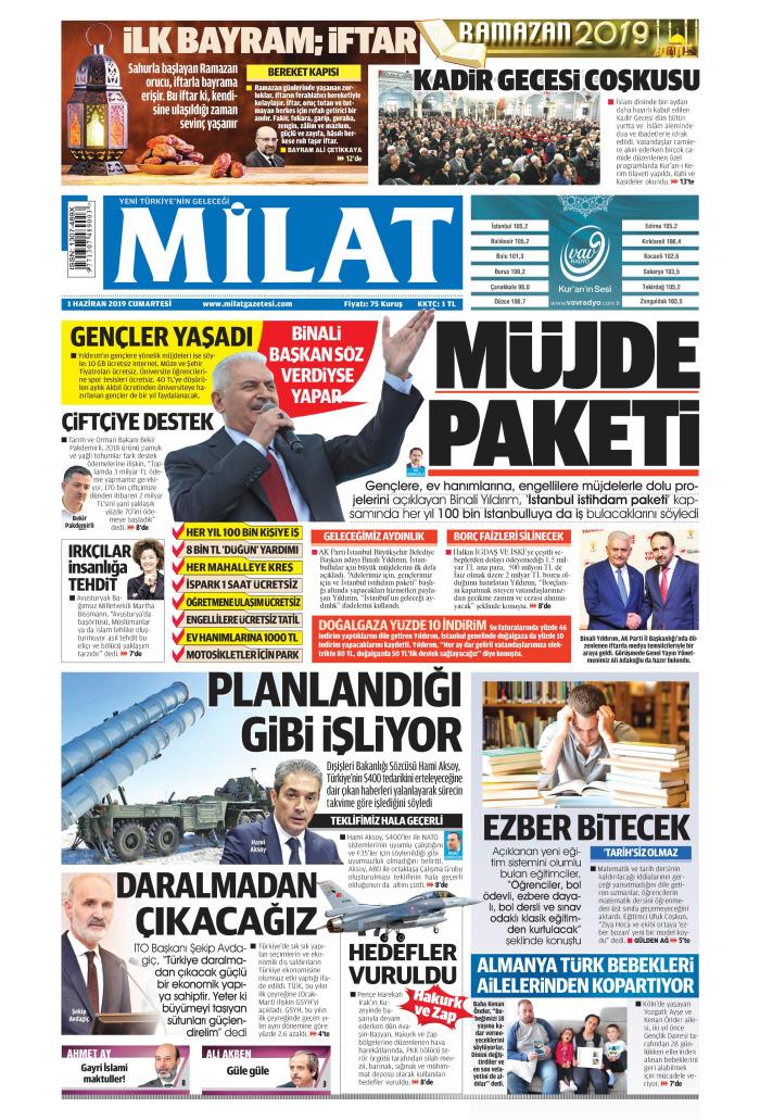 MİLAT Gazetesi 1 Haziran 2019, Cumartesi Günü Manşeti