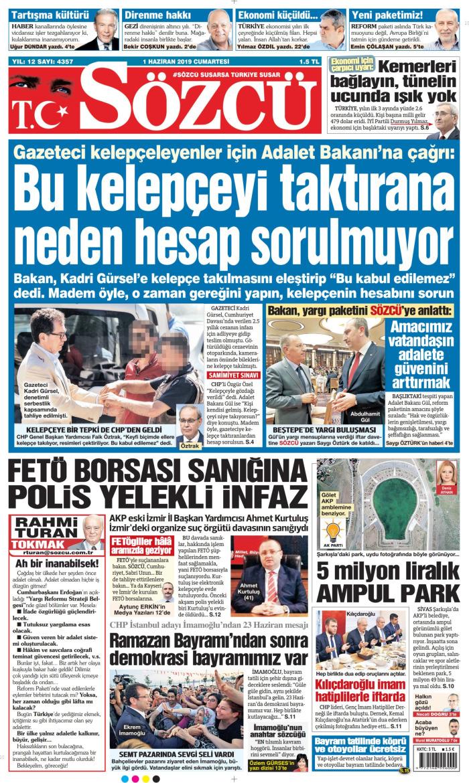 SÖZCÜ Gazetesi 1 Haziran 2019, Cumartesi Günü Manşeti