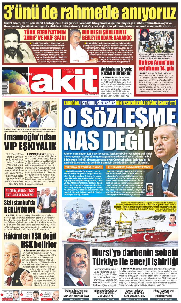 YENİ AKİT Gazetesi 7 Haziran 2019, Cuma Günü Manşeti