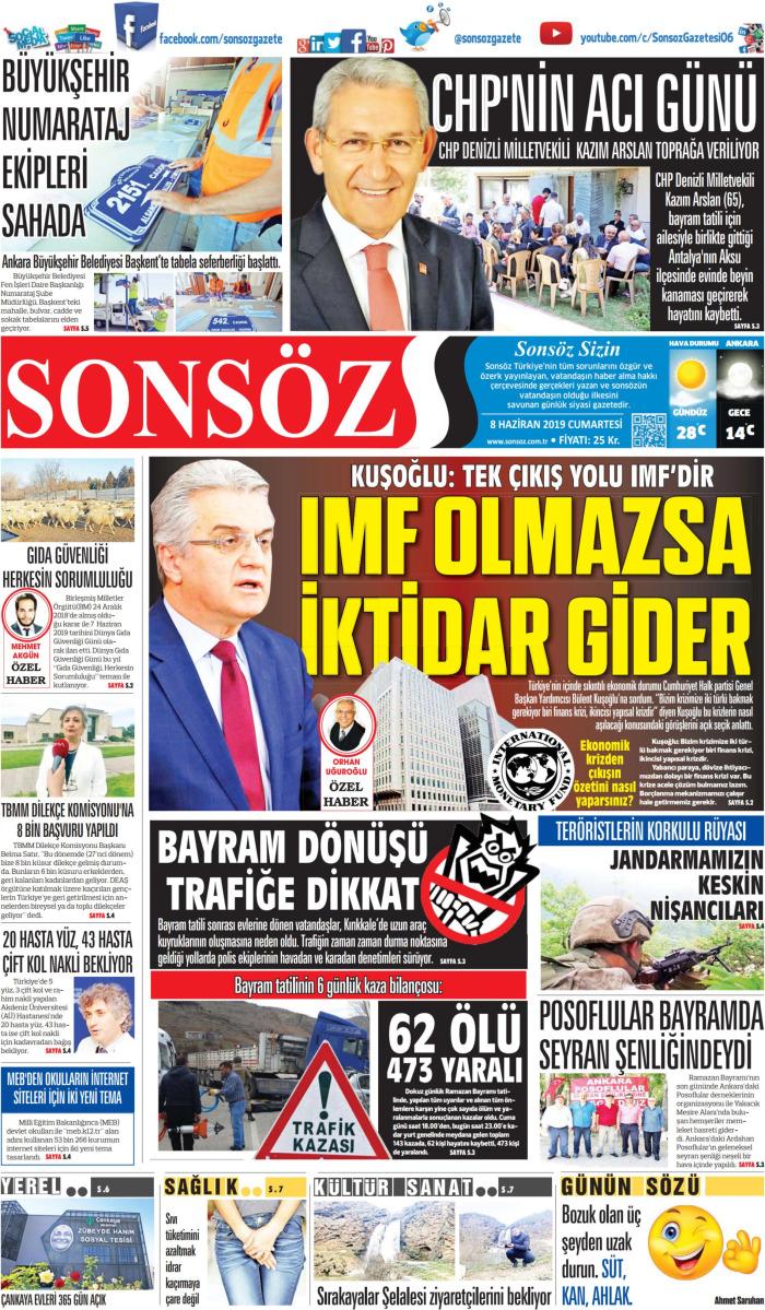 SONSÖZ Gazetesi 8 Haziran 2019, Cumartesi Günü Manşeti