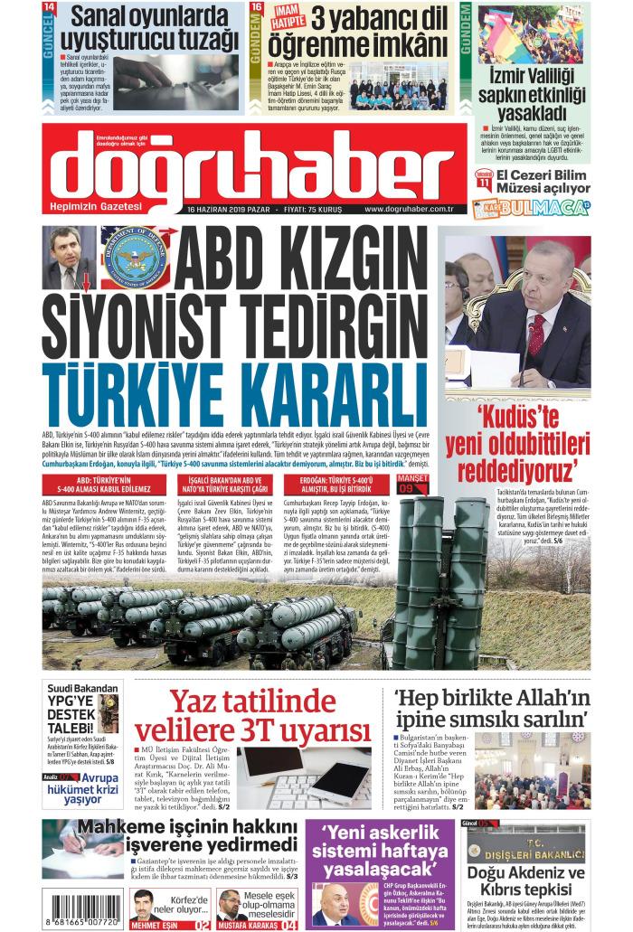 Doğru Haber Gazetesi 16 Haziran 2019, Pazar Günü Manşeti