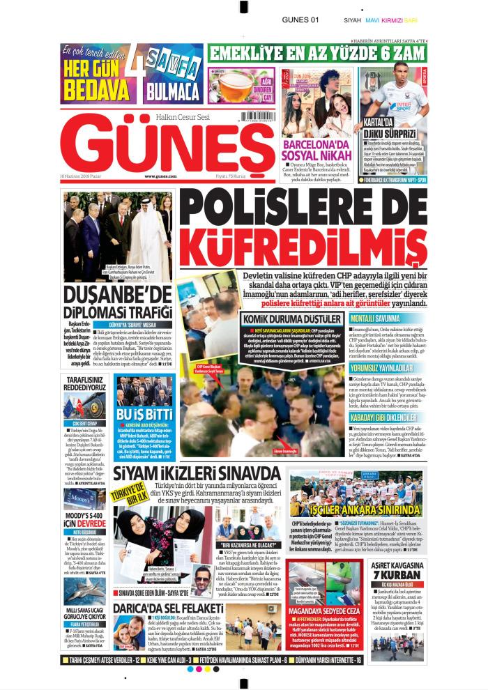 GÜNEŞ Gazetesi 16 Haziran 2019, Pazar Günü Manşeti