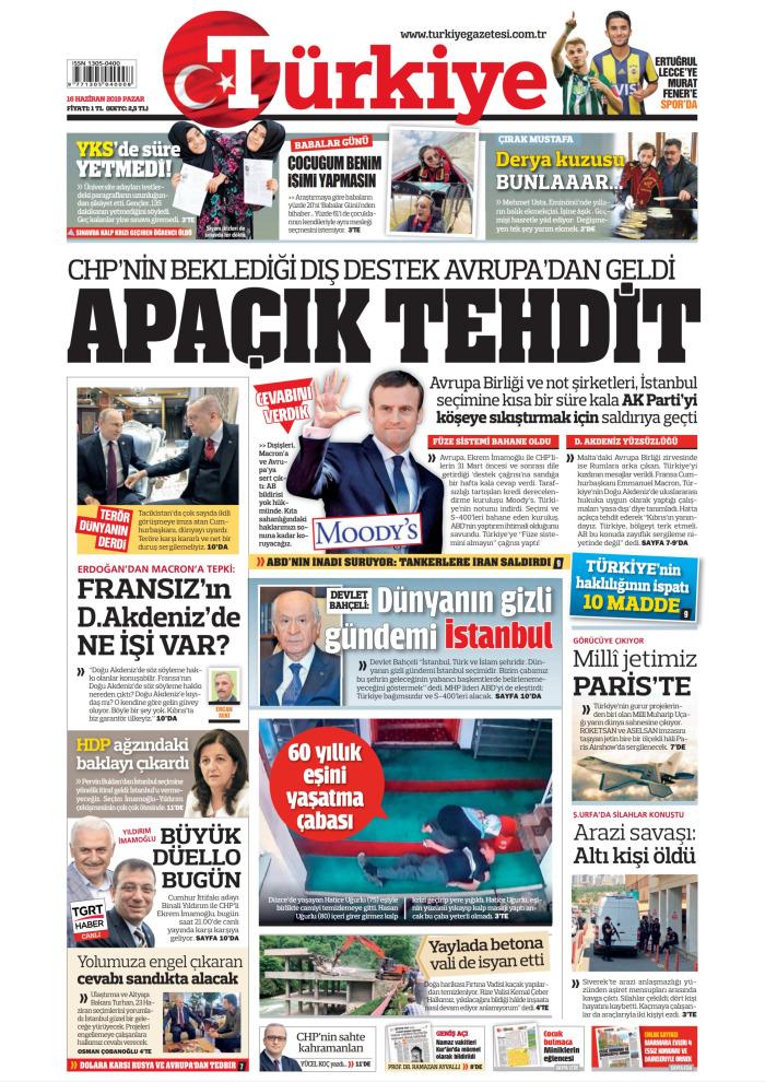 TÜRKİYE Gazetesi 16 Haziran 2019, Pazar Günü Manşeti
