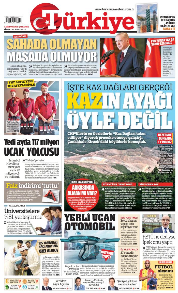 TÜRKİYE Gazetesi 7 Ağustos 2019, Çarşamba Günü Manşeti