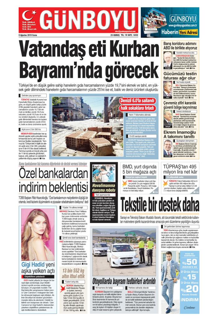GÜNBOYU Gazetesi 9 Ağustos 2019, Cuma Günü Manşeti