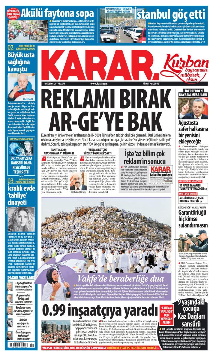 KARAR Gazetesi 11 Ağustos 2019, Pazar Günü Manşeti