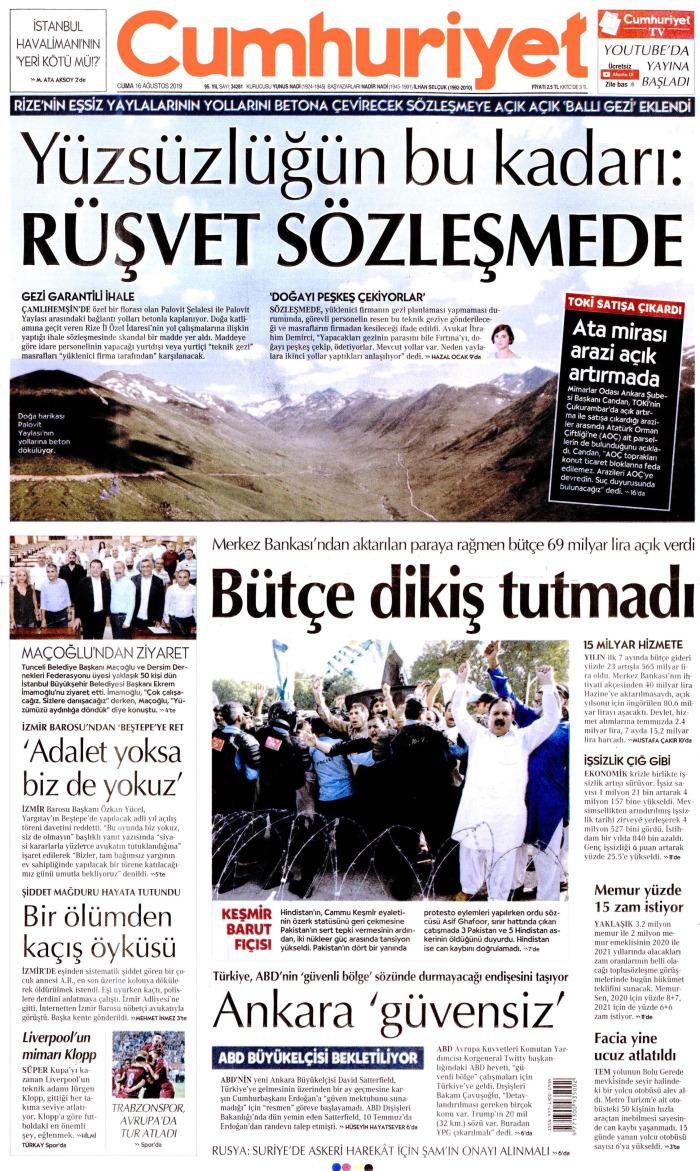 CUMHURİYET Gazetesi 16 Ağustos 2019, Cuma Günü Manşeti
